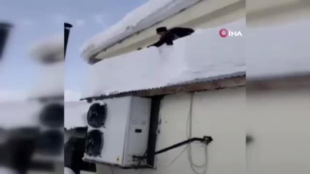 Çatıdaki karı temizlerken az daha canından oluyordu